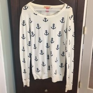 Thermal Anchor Print Sweater w/ Rhienstones